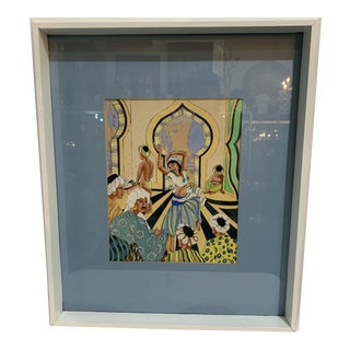 1960s Vintage Mixed Media Persian Framed Painting For Sale