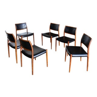 Niels O. Møller Rosewood Dining Chairs for J.L. Møllers Møbelfabrik Circa 1976 - Set of 6 For Sale