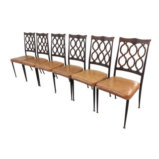 Vintage Hollywood Regency Lattice Back Dining Chairs - Set of 6 For Sale