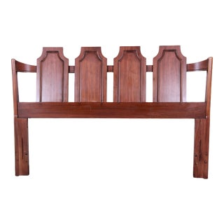 Kent Coffey Mid-Century Modern Sculpted Walnut Queen or Full Size Headboard For Sale