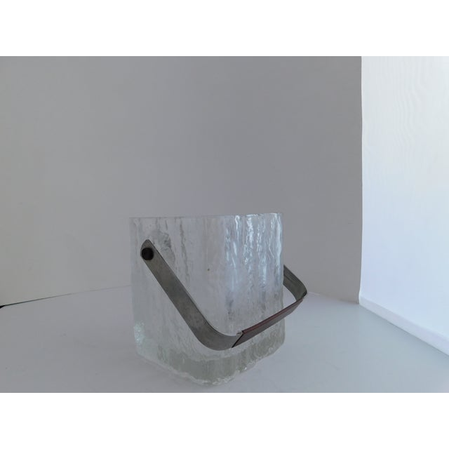Mid Century Textured Hoya Glass Ice Bucket and Tongs For Sale - Image 9 of 13