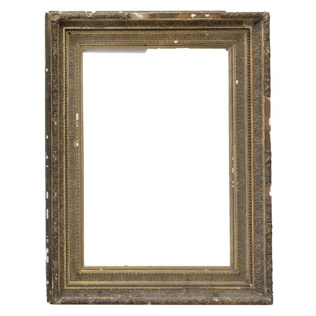 Large Distressed Antique Gold Giltwood Wood and Plaster Art Frames - Set of Three For Sale - Image 4 of 6