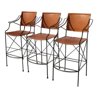 Set of Three Vintage Spanish Style Wrought Iron Burnt Orange Leather Barstools For Sale
