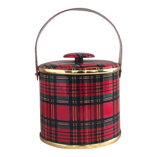 Vintage 1970s Georges Briard Plaid Ice Bucket With Lid For Sale