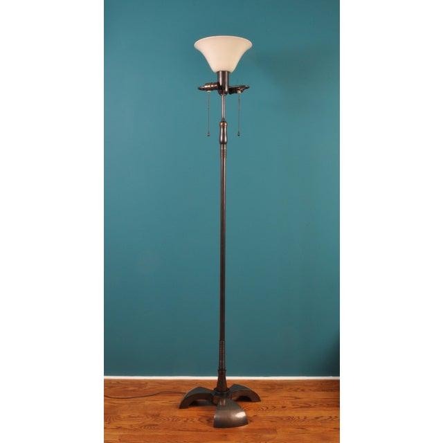Art Deco Large Brass Floor Lamp, Bag Turgi, Zurich, Switzerland, Circa 1940s For Sale - Image 3 of 11