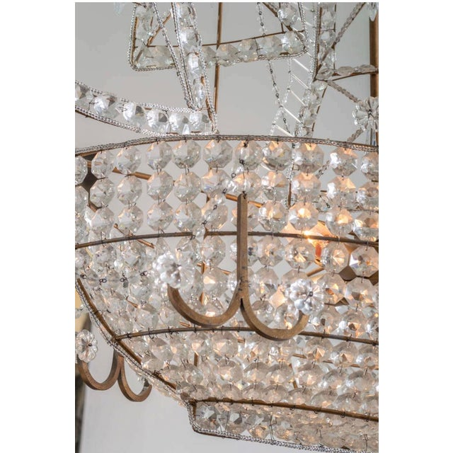 Antique 1920s Italian Venetian Crystal Sailboat Boat Ship Chandelier For Sale - Image 4 of 6
