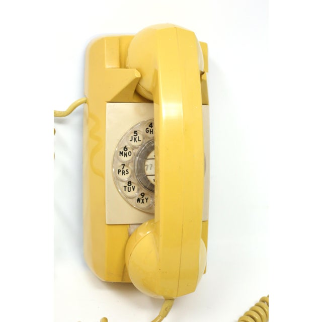 Metal Vintage 1976 Starlite Yellow Rotary Wall Phone For Sale - Image 7 of 12