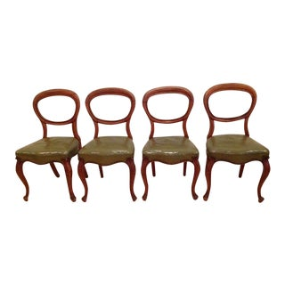Antique Victorian Walnut Balloon Back Dining Chairs -Set of 4 For Sale