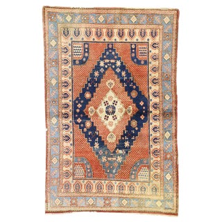 20th Century British Colonial Persian Hamadan Rug - 4′1″ × 6′3″ For Sale