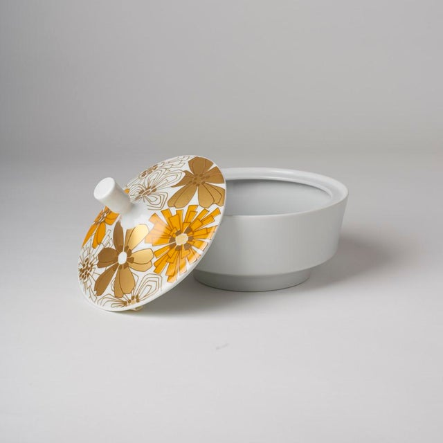 Shabby Chic Mid Century Vintage Op Art Floral Covered Dish For Sale - Image 3 of 7