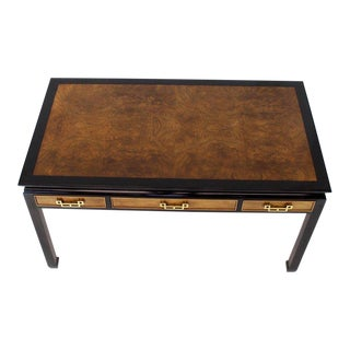 Burl Walnut Black Lacquer Ebonized Black Lacquer Frame Desk For Sale