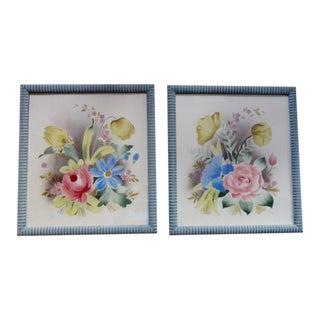 Benjamin Harris Watercolor/Airbrush, Pair of Florals For Sale