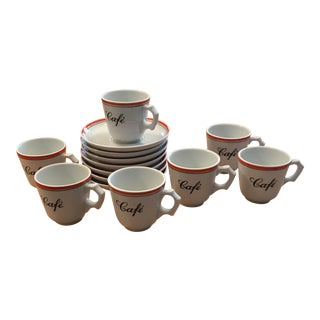 Ceramic Espresso Cups & Saucers - Set of 7