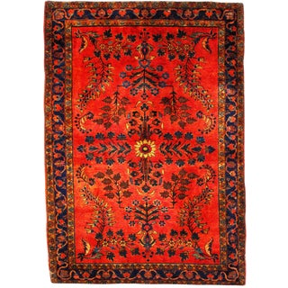 Early 20th Century Antique Sarouk Mohajeran Rug - 3′4″ × 4′10″ For Sale