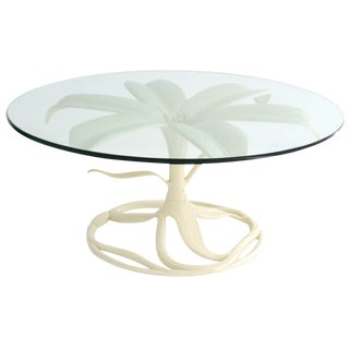 Midcentury White Lacquered, Glass Top Cocktail Table by Arthur Court For Sale