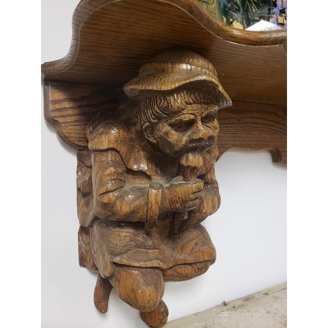 Antique Hand Carved Black Forest Oak Mantle For Sale - Image 4 of 10