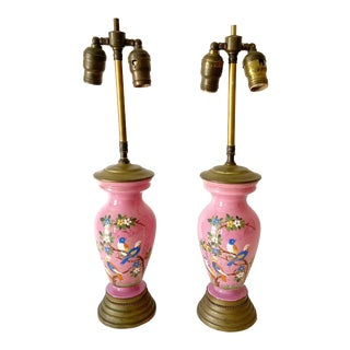 Antique Hand Painted Bird Lamps - a Pair For Sale