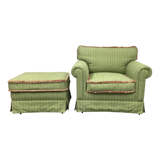 Green Fringed Arm Chair & Ottoman - Image 1 of 9