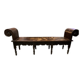 Early 19th Century Victorian Era Roll Top Bench For Sale