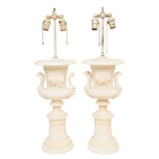 Pair of Grand Scale Urn-Form Alabaster Lamps For Sale