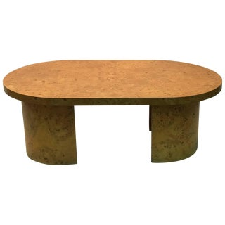Burled Elm Wood Coffee Table Oval For Sale
