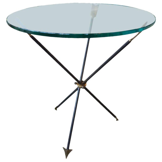 1960's Italian Gio Ponti Style Iron and Bronze Arrow Table For Sale