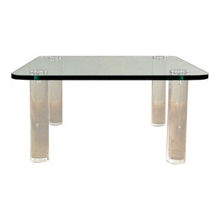 1970s Mid Century Modern Pace Lucite and Glass Cocktail Table For Sale