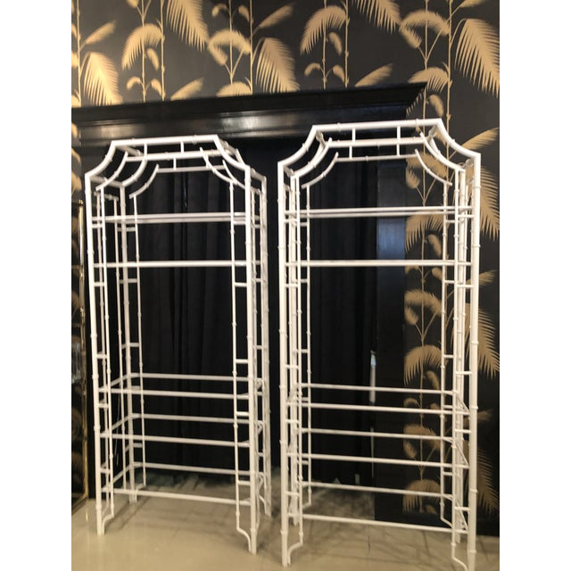 Vintage Chinese Chippendale Newly White Powder-Coated Faux Bamboo Pagoda Metal Shelves Etageres -A Pair For Sale - Image 13 of 13