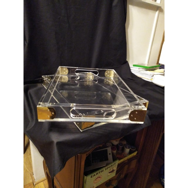 1970s 1970's Jonathan Adler Minimalist Lucite Trays For Sale - Image 5 of 10