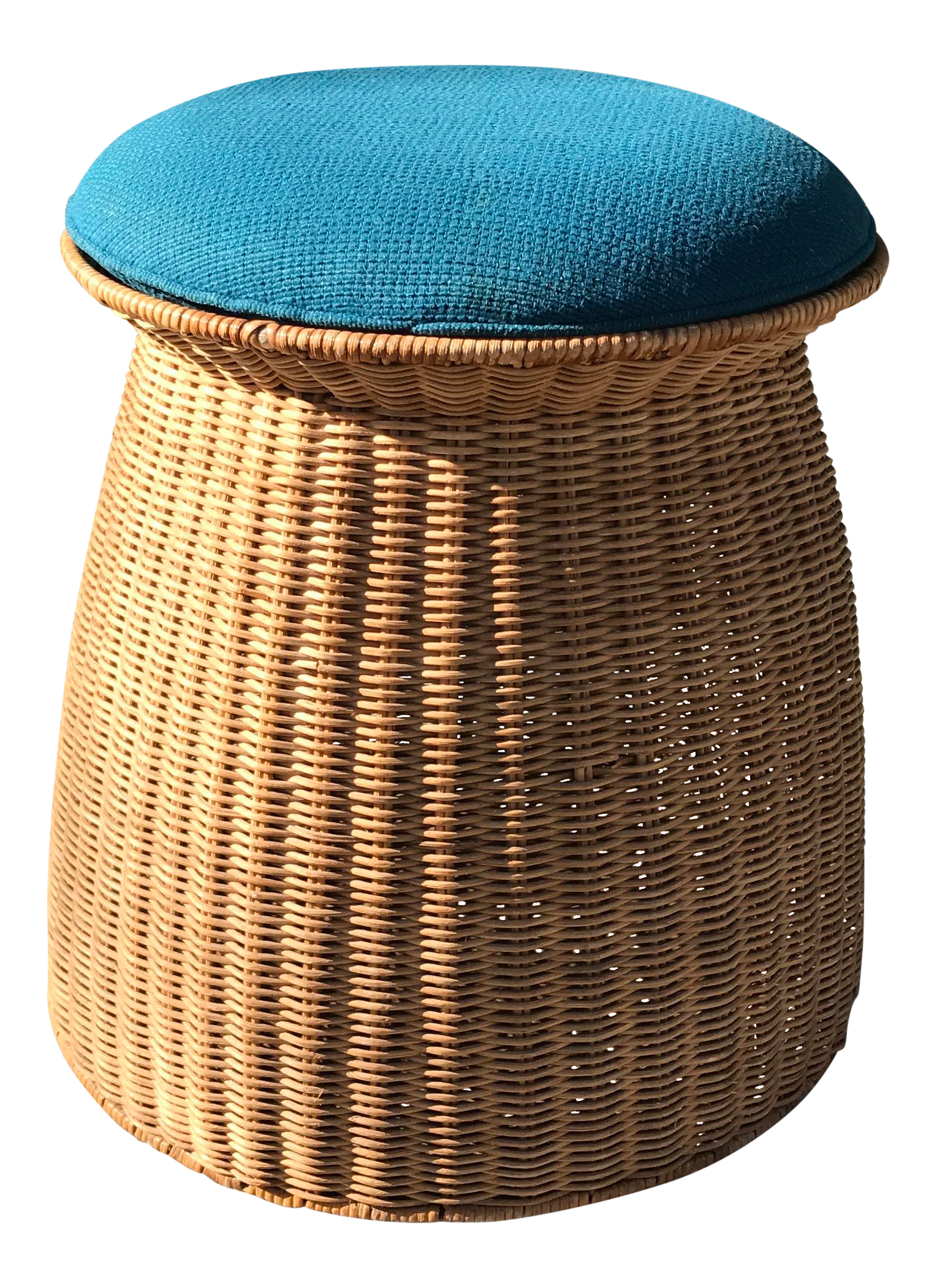 1960s Japanese Storage Stool In Wicker