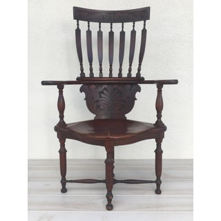 20th Century Early American High Back Wooden Corner Chair Preview