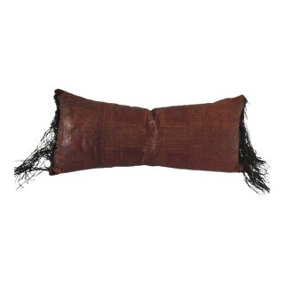 African Tuareg Leather Pillow With Fringes For Sale