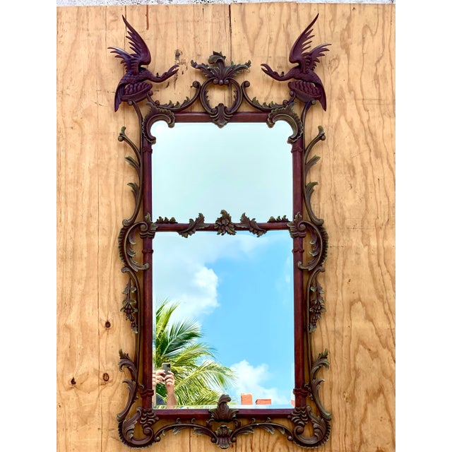 Vintage Chinoiserie Gesso Over Wood Birds Mirror For Sale - Image 10 of 10