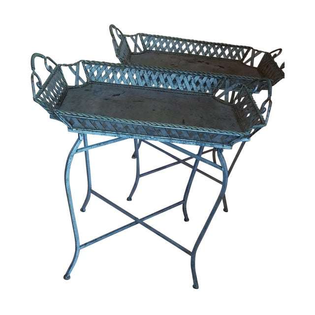 Silvery Indoor/ Outdoor Metal Tray Tables - Image 1 of 7