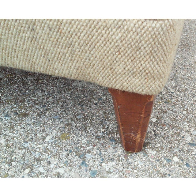 Mid-Century Oatmeal Upholstered Ottoman - Image 7 of 7