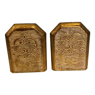 1970s Hollywood Regency Florentine Style Wooden Bookends - a Pair