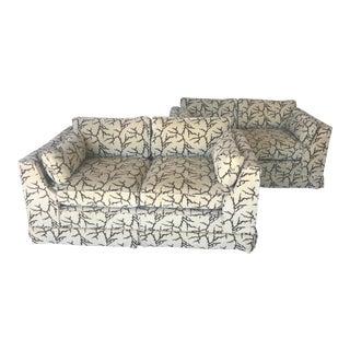 Custom Twig, Coral Velvet Pair of Love Seats by Harold Berman Inc. Nyc For Sale