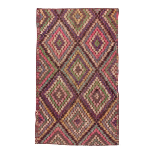 Vintage Turkish Kilim Embroidered Rug - 5′11″ × 9′11″ For Sale
