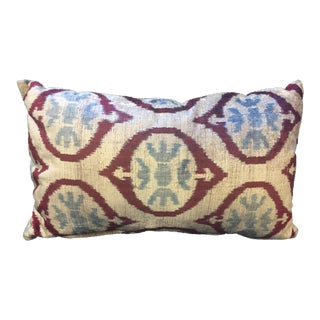 Blue and Red Velvet Lumbar Pillow For Sale