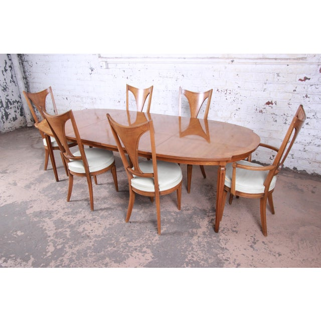 Hollywood Regency Romweber Mid-Century Modern Cherry and Burl Wood Dining Set, 1960s - Set of 7 For Sale - Image 3 of 13