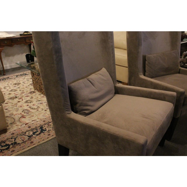 Late 20th Century Vintage Mid Century Plush Contemporary Wing Chairs- A Pair For Sale - Image 5 of 9