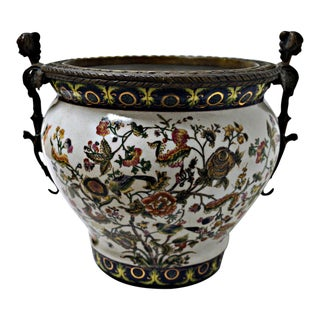 Chinoiserie Porcelain Bowl With Brass Motifs
