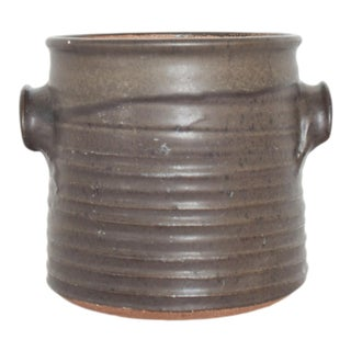 1960s Signed California Studio Art Pottery Stoneware Jar With Lid Handled Pot For Sale