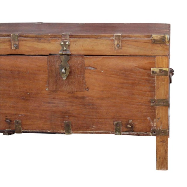 Primitive Early 20th Century Wooden Campaign Trunk For Sale - Image 3 of 6