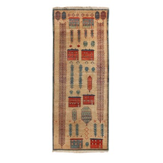 Bakshaish Geometric Beige and Blue Wool Runner - 3′3″ × 8′3″ For Sale