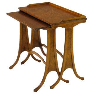 Baker Art Nouveau Style Burled Walnut Nesting Tables For Sale