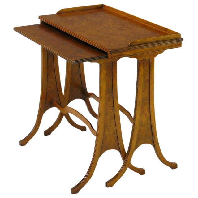 Baker Art Nouveau Style Burled Walnut Nesting Tables For Sale