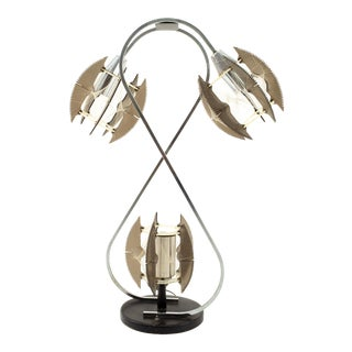 Paul Secon for Sompex Mid Century String and Chrome Lamp For Sale