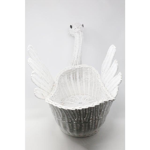 Wicker Vintage Large White Wicker Swan Basket For Sale - Image 7 of 11