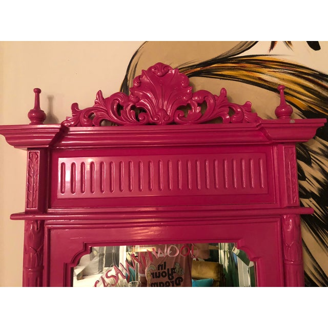 Wood Hot Pink Lacquered Hand-Carved Solid Mahogany Floor Mirror For Sale - Image 7 of 9